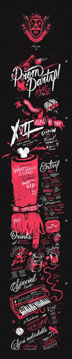 DI Prom Party Vol. XII by Sindy Ethel & Alan Rodriguez (R3do) https://www.behance.net/gallery/19798535/Digital-Invaders-Prom-Party-Vol-XII #lettering #fraternity #typography #design #type #website #night #illustration #poster #prom #party