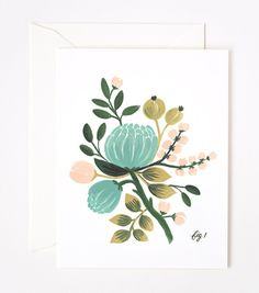 Blue Floral Card #blue #green #flower