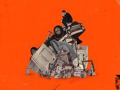 Emmanuel Polanco / Les InRockuptibles magazine / Colagene.com #frame #photomontage #illustration #vintage #collage #car