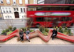 With a vibrant and eye catching design, this parklet is more than just a seating area with some added greenery.
