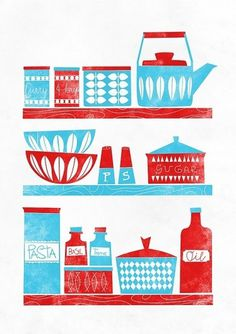In the Kitchen Mid Century Modern inspired A3 by handz on Etsy