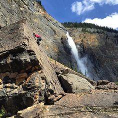 Bouldering at Takakkaw Falls, BC.