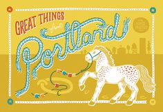 Portland Oregon, by Mette Hornung Rankin for Global Yodel #horse #design #portland #travel #postcard #oregon