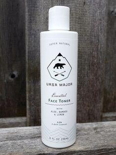 Men's Natural Facial Toner│Essential Face Toner 8 oz by Ursa Major #bears #white #packaging #major #black #logo #arrows #ursa #and #type #typography