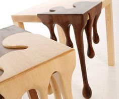 Designer Matthew Robinson and his chocolate fusion tables #tables #fusion #chocolate #furniture #art