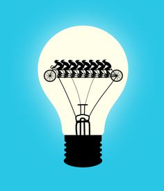 Ready, Set, Update, by Tang Yau Hoong #inspiration #creative #bulb #cyan #design #graphic #illustration #bike #light