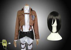 Attack on Titan Mikasa Ackerman Cosplay Costume + Wig #ackerman #costume #wig #mikasa #cosplay