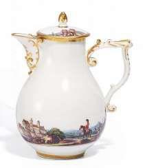 POT WITH CONTINUOUS LANDSCAPE PANORAMA. Meissen. Around 1740. #Sets #Teasets #Porcelainsets #Antiqueplates #Plates #Wallplates #Figures #Porcelainfigurines #porcelain