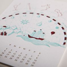 June by Reka Juhasz // 12 Musketeers 2013 Letterpress Calendar #juhasz #12 #2013 #calendar #design #graphic #letterpress #astrology #journey #reka #ship #june #musketeers