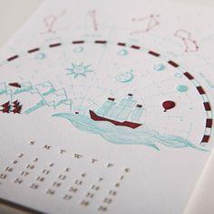June by Reka Juhasz // 12 Musketeers 2013 Letterpress Calendar #juhasz #12 #2013 #calendar #design #graphic #letterpress #astrology #journey #reka #ship #june #musketeers