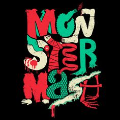 monster, green, red, type, lettering, illustration