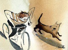5 #run #dog #bicycle #boy #cyclist #illustration #bike #watercolor #watercolour