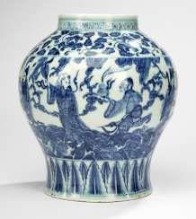Shoulder pot with decoration of Eight Immortals in underglaze blue #porcelain
