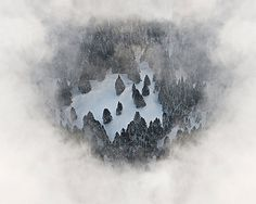 Winter Aerials on the Behance Network #clouds #aerial #fog #bernhard #snow #wood #forest #lang #trees #winter