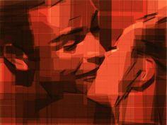 Kiss tape painting #portraits #tape #art #paintings