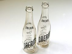 Dream Soda Pop Bottle Glass Vintage Standard Bottling by veraviola #pop #packaging #drink #glass #vintage #soft #soda