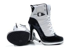 Nike Air Jordan XI 11 Womens High Heels Shoes with Black/White Colorways #heels