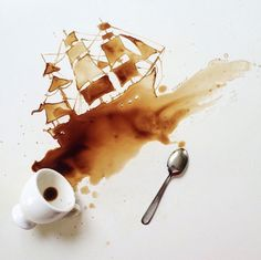 Painting Coffee artwork Unique Painting Art With Coffee by Giulia Bernardelli