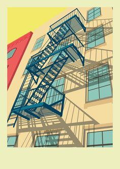 Greenwich Village New York City Illustration by Remko Heemskerk #illustration #art #new york #city #fire escape