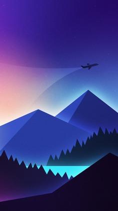 Minimalism, airplane over mountains, gradient wallpaper, background