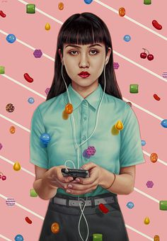 candy crush oil on canvas