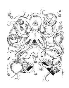 Octopus Art Print by Gold Spirit Art | Society6 #ship #octopus