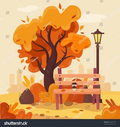 stock-vector-autumn-park-with-bench-coffee-falling-leaves-tree-and-lantern-flat-cartoon-style-vector-712851778.jpg (1500×1600)
