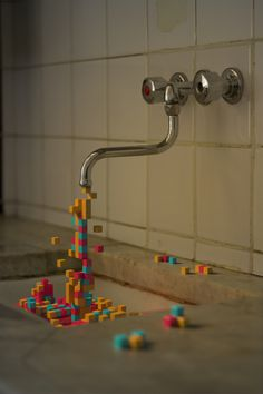 Pixelation #pixelation #cubes #water #colours #pixels #3d