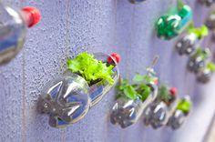Urban Vertical Garden Built From Hundreds of Recycled Soda Bottles #guerillia #plant