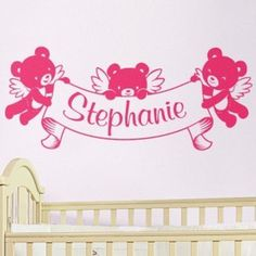A sweet custom name banner! The cute teddy bear cupids will look sweet in a nursery or toddlers room. Wall decal from http://cozywallart.com #bear #name #decal