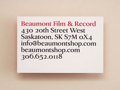 Beaumont Film & Record | Vitae Design