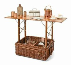 Large picnic basket with folding table for 4 people