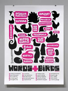 Words and Birds Print by Lunchbreath on Etsy