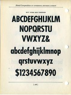 Futura Bold Condensed type specimen #type #specimen #typography