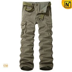 Mens Khaki Cargo Long Pants with Belt CW140356