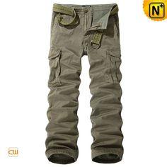 Mens Khaki Cargo Long Pants with Belt CW140356