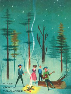 newhousebooks:Campfire, from Voices of America, illus by Robert J. Lee, 1957 #print #characters #illustration