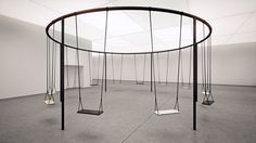 Swing-from-Caesarstone-and-Philippe-Malouin-at-IDS-2015_dezeen_bn02 #swing #circle #sculpture #fun #installation