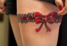 Red Ribbon Tattoos for Women #women #tattoos #ribbon
