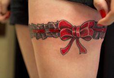 Red Ribbon Tattoos for Women #women #tattoos #ribbon