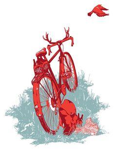 Wanderlust #antlers #beer #bird #illustration #nature #bike