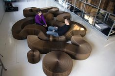 Softseating is furniture made out of paper that can be folded and expanded as you wish.