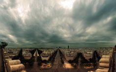 Panorama of Paris at Cloudy Day