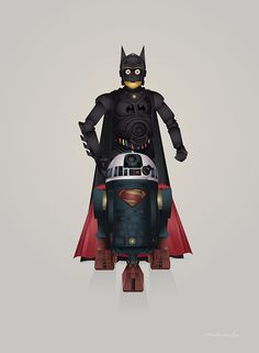Batdroid v Superdroid on Behance by Steve Berrington #wars #batman #illustration #r2-d2 #star