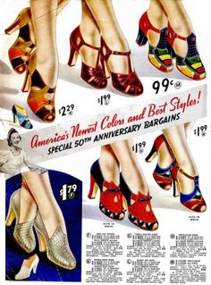 All sizes | ... shop the 40's- in color! | Flickr - Photo Sharing! #shoes #design #graphic #vintage #fashion