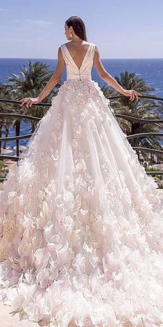 wedding dresses 2019 ball gown v back 3d floral blush oksana mukha