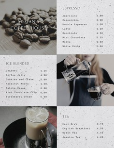 Gray Coffee Tea Grid Photo Drink Menu