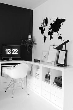 Black and white workspace #workspace #white #office #world #black #map #and #bw