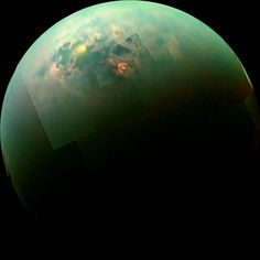 The sun glinting off of Titan's north polar seas