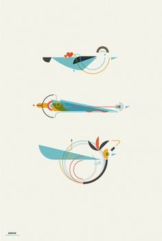 Leandro Castelao / 3 Birds #design #shapes #graphic #birds #illustration